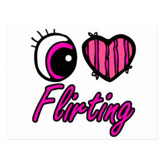 Emo Eye Heart I Love Flirting Postcard