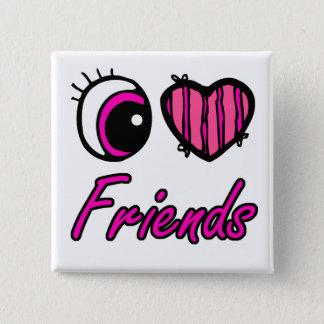Emo Eye Heart I Love Friends 15 Cm Square Badge