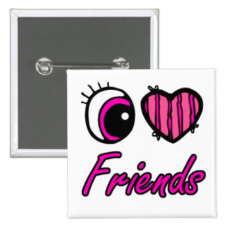 Emo Eye Heart I Love Friends 15 Cm Square Badge
