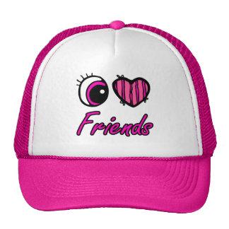 Emo Eye Heart I Love Friends Cap