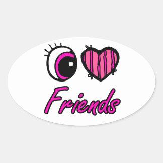 Emo Eye Heart I Love Friends Oval Sticker