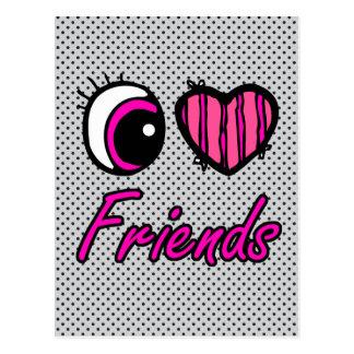 Emo Eye Heart I Love Friends Postcard