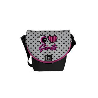 Emo Eye Heart I Love Girls Commuter Bags