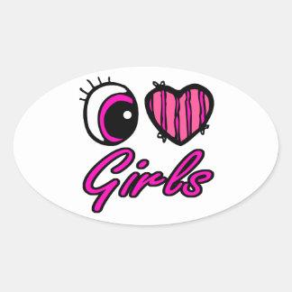 Emo Eye Heart I Love Girls Stickers