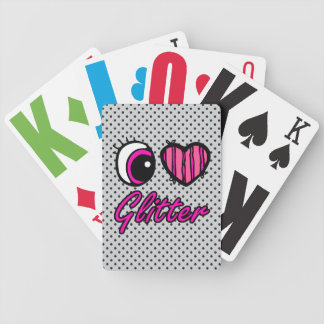 Emo Eye Heart I Love Glitter Bicycle Playing Cards