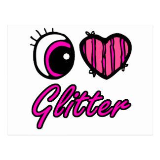 Emo Eye Heart I Love Glitter Postcard