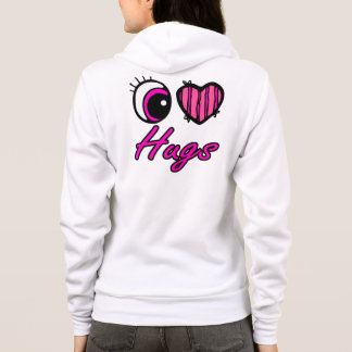 Emo Eye Heart I Love Hugs Hoodie