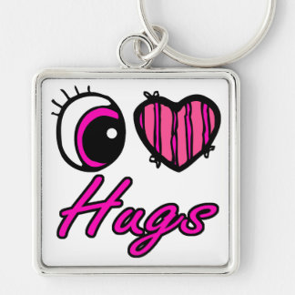 Emo Eye Heart I Love Hugs Silver-Colored Square Key Ring