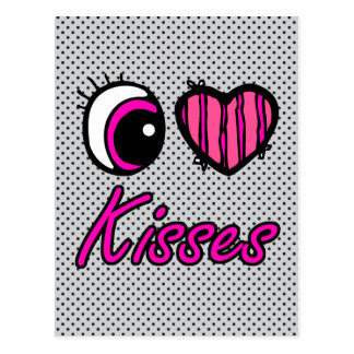 Emo Eye Heart I Love Kisses Postcard