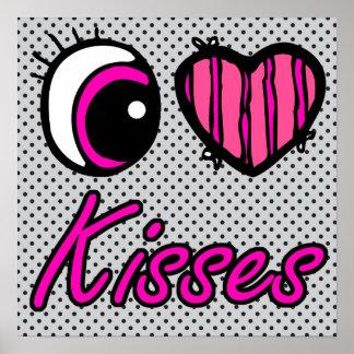 Emo Eye Heart I Love Kisses Poster