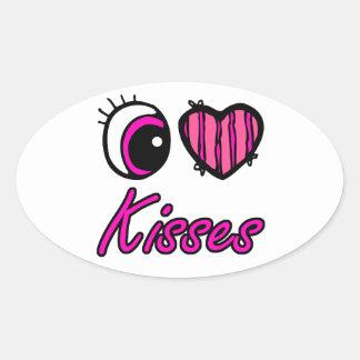 Emo Eye Heart I Love Kisses Oval Sticker