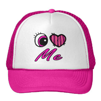 Emo Eye Heart I Love Me Mesh Hats