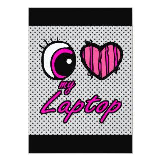 Emo Eye Heart I Love my Laptop 13 Cm X 18 Cm Invitation Card