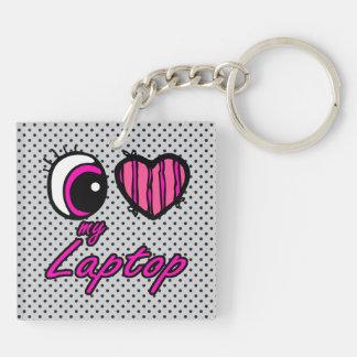 Emo Eye Heart I Love my Laptop Double-Sided Square Acrylic Key Ring