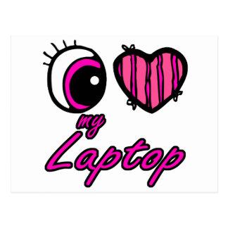 Emo Eye Heart I Love my Laptop Postcard