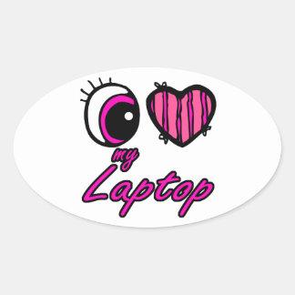 Emo Eye Heart I Love my Laptop Oval Sticker