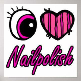 Emo Eye Heart I Love Nail polish Print