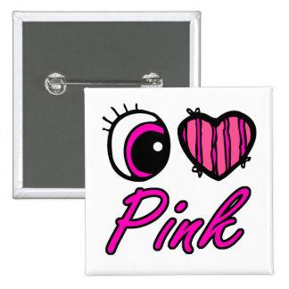 Emo Eye Heart I Love Pink 15 Cm Square Badge