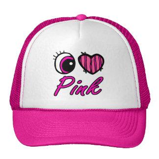 Emo Eye Heart I Love Pink Mesh Hats