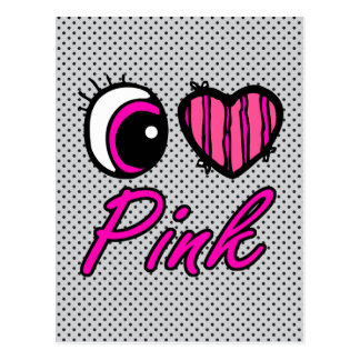 Emo Eye Heart I Love Pink Postcard