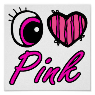 Emo Eye Heart I Love Pink Poster