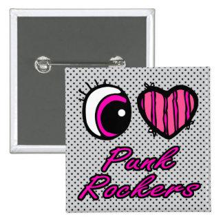 Emo Eye Heart I Love Punk Rockers 15 Cm Square Badge