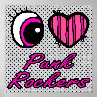 Emo Eye Heart I Love Punk Rockers Print