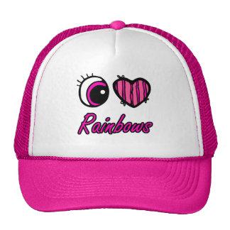 Emo Eye Heart I Love Rainbows Trucker Hats