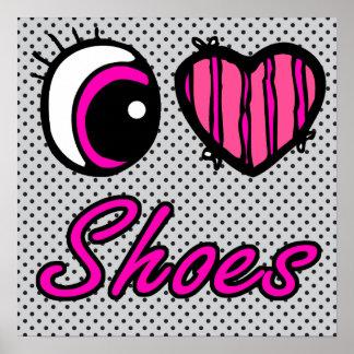 Emo Eye Heart I Love Shoes Poster