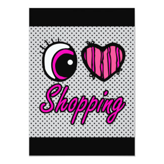 Emo Eye Heart I Love Shopping 13 Cm X 18 Cm Invitation Card