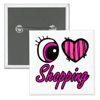 Emo Eye Heart I Love Shopping 15 Cm Square Badge