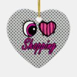 Emo Eye Heart I Love Shopping Ceramic Heart Decoration