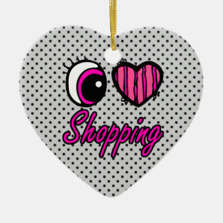 Emo Eye Heart I Love Shopping Christmas Ornament