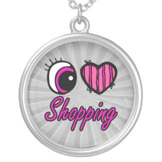 Emo Eye Heart I Love Shopping Round Pendant Necklace