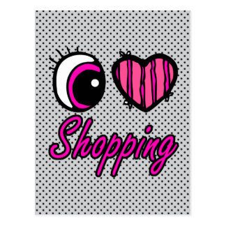 Emo Eye Heart I Love Shopping Postcard