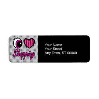 Emo Eye Heart I Love Shopping Return Address Label
