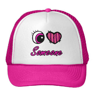 Emo Eye Heart I Love Someone Mesh Hat