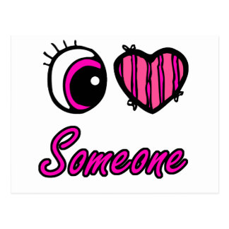 Emo Eye Heart I Love Someone Postcard