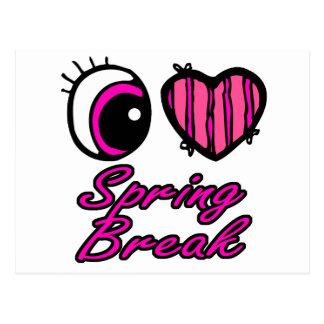 Emo Eye Heart I Love Spring Break Postcard