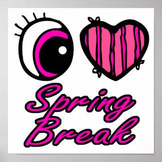 Emo Eye Heart I Love Spring Break Poster
