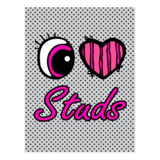 Emo Eye Heart I Love Studs Postcard