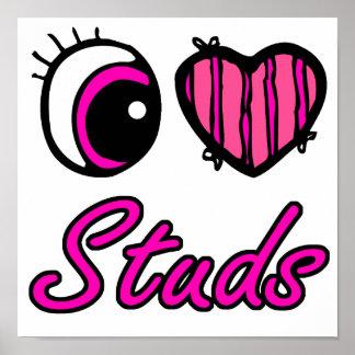 Emo Eye Heart I Love Studs Poster