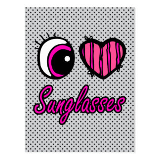 Emo Eye Heart I Love Sunglasses Postcard