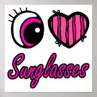 Emo Eye Heart I Love Sunglasses Poster