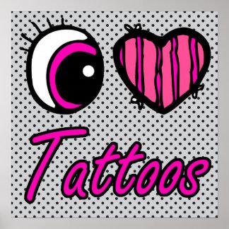 Emo Eye Heart I Love Tattoos Poster