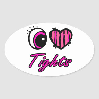 Emo Eye Heart I Love Tights Oval Sticker