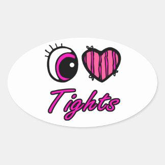 Emo Eye Heart I Love Tights Oval Sticker