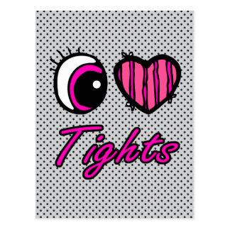 Emo Eye Heart I Love Tights Postcard