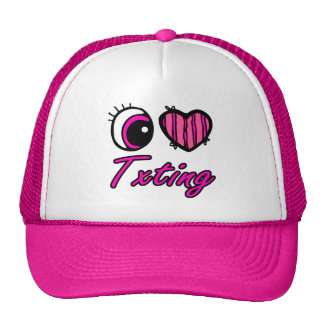 Emo Eye Heart I Love Txting Mesh Hat