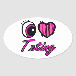 Emo Eye Heart I Love Txting Oval Sticker